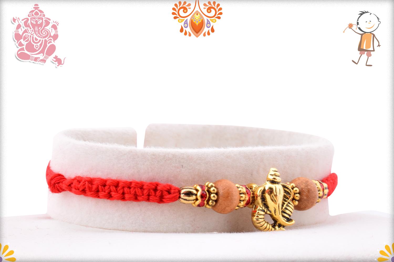 Exclusive Golden Ganpati Rakhi With Wooden Beads and Designer Thread 2