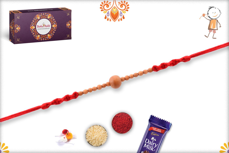 Unique Wooden Beads Rakhi With Designer Red Thread 1