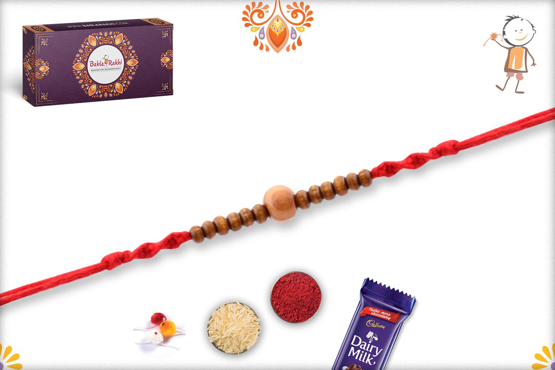 Simple Wooden Yet Elegant Wooden Beads Rakhi 2