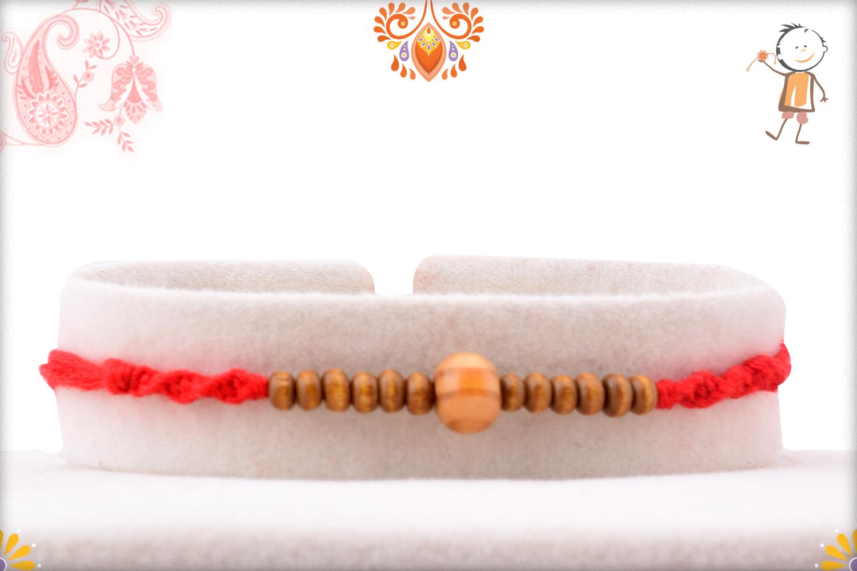 Simple Wooden Yet Elegant Wooden Beads Rakhi 1