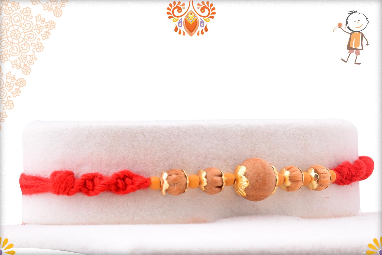 Unique 5 Wooden Beads With Golder Design Rakhi 2