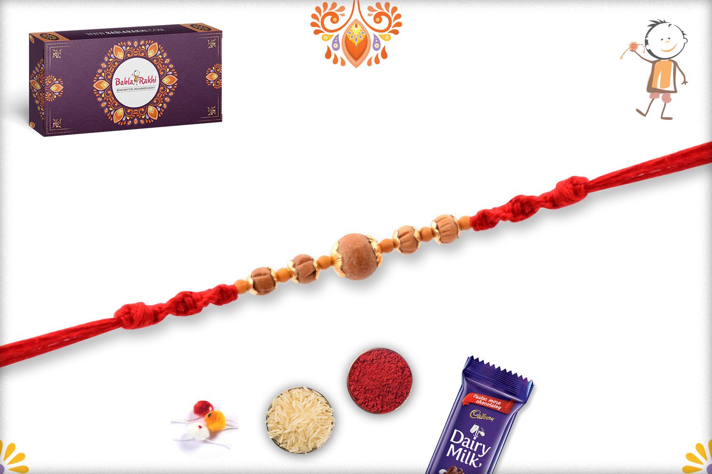 Unique 5 Wooden Beads With Golder Design Rakhi 3