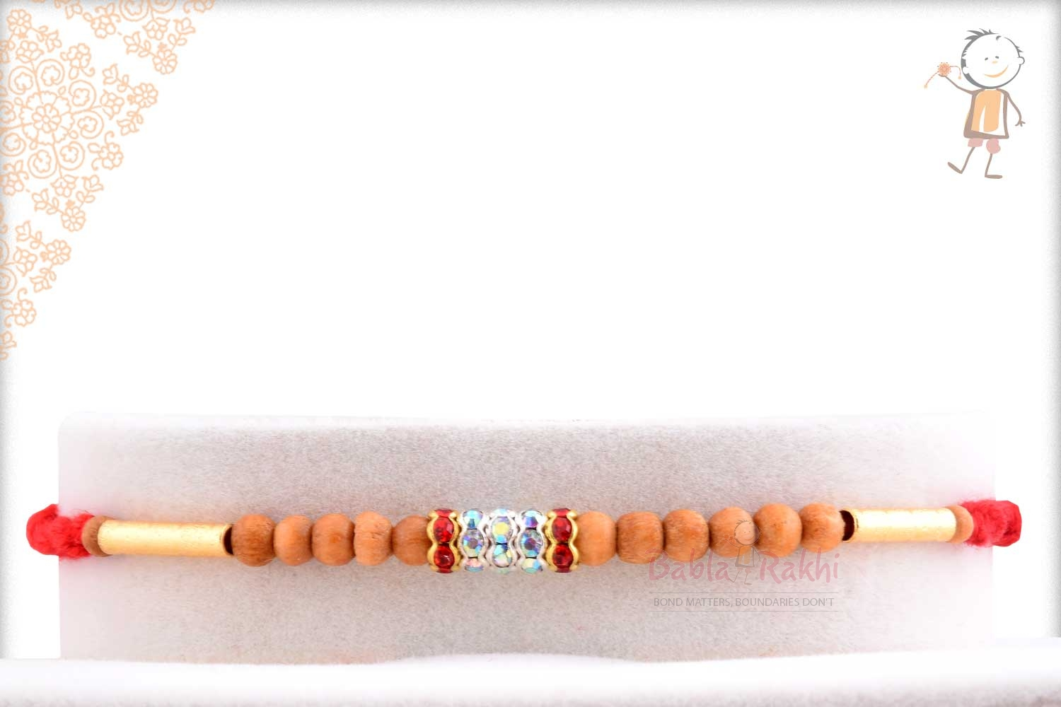 Traditional Sandalwood Beads with Golden Pipes 1