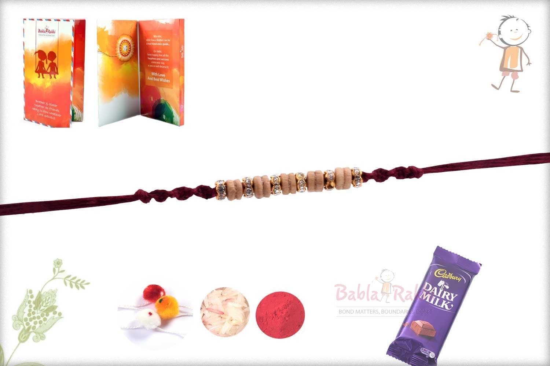 Beautiful Sandalwood Beads Rakhi with Diamond Rings 2