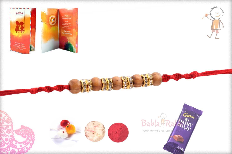 Five Sandalwood Beads Rakhi with Diamond Rings 2