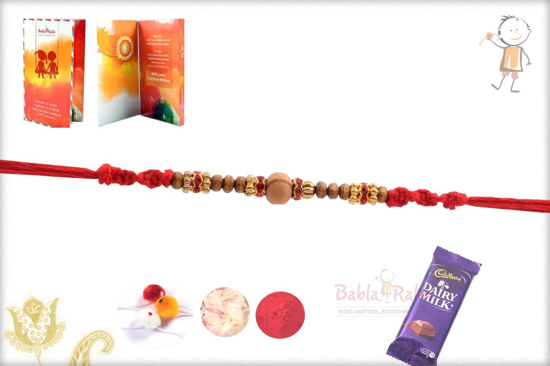 Sandalwood Beads Rakhi with Diamond and Golden Rings 2