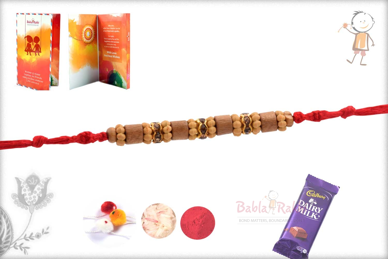 Beautiful Round Cut Sandalwood Beads Rakhi 2