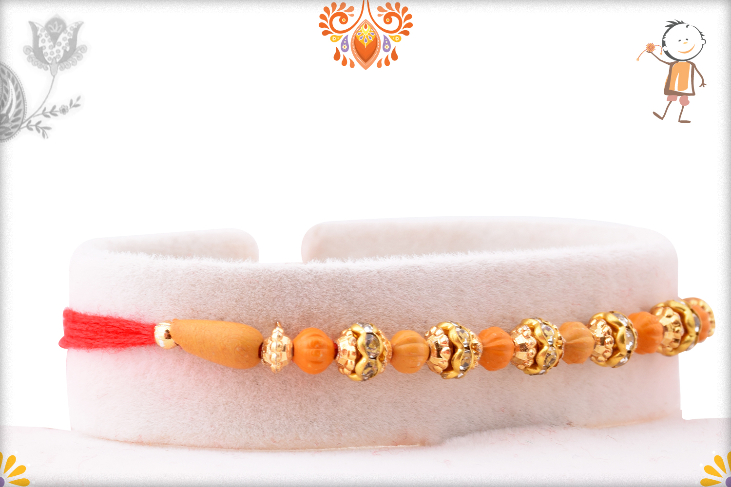 Exclusive Rakhi With Unique Wooden Bead And Golden Design 2