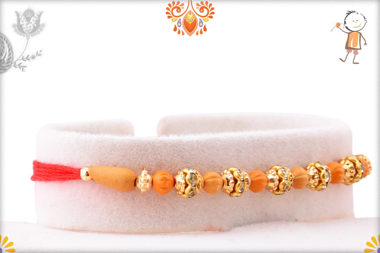 Exclusive Rakhi With Unique Wooden Bead And Golden Design 2