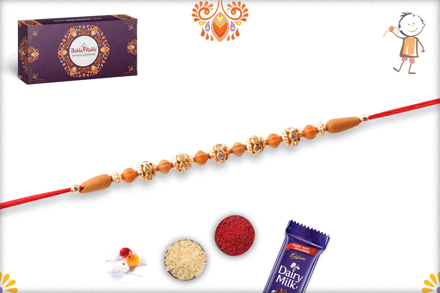 Exclusive Rakhi With Unique Wooden Bead And Golden Design 3