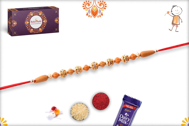 Exclusive Rakhi With Unique Wooden Bead And Golden Design 3