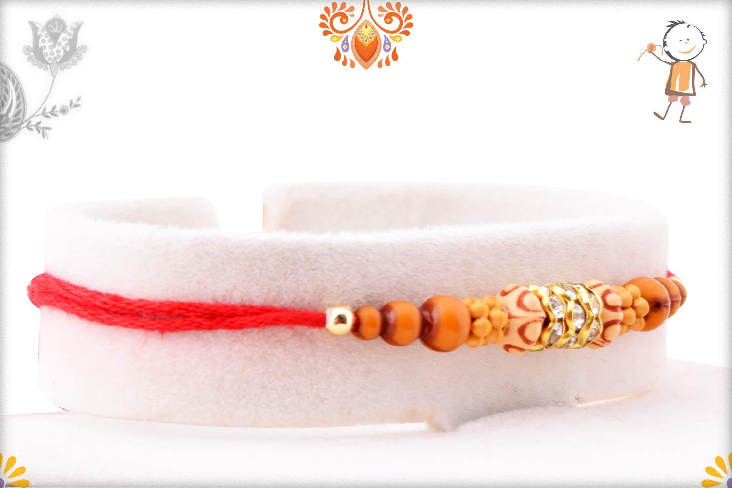 Simple Yet Eye-catching Combination Wooden and Dimond Rakhi 2