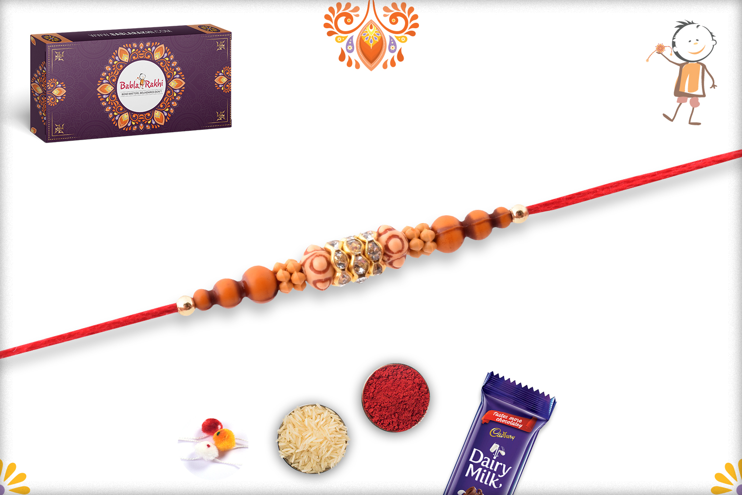 Simple Yet Eye-catching Combination Wooden and Dimond Rakhi 3