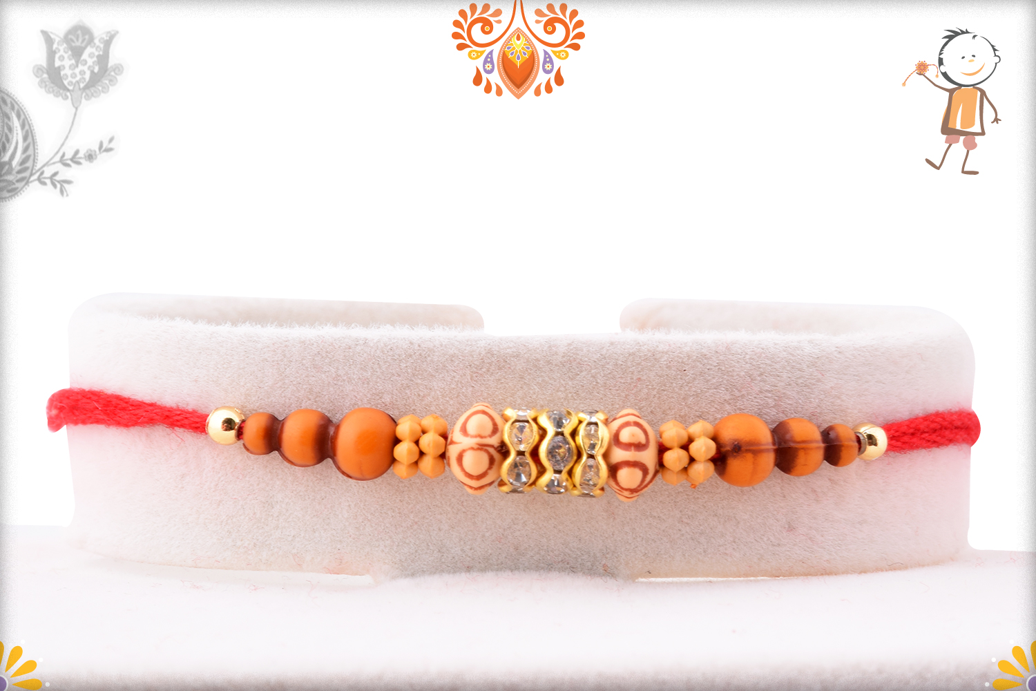 Simple Yet Eye-catching Combination Wooden and Dimond Rakhi 1