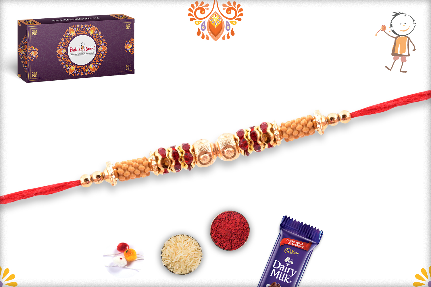 Fabulos Combination of Golden and Red Rakhi 2
