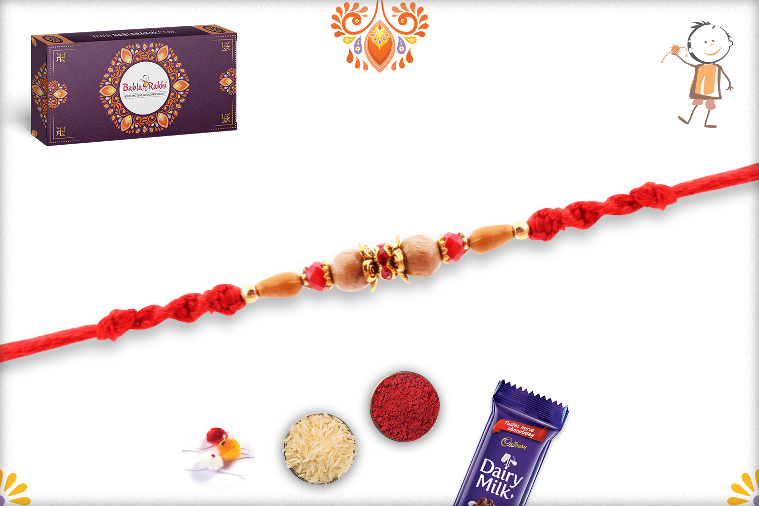 Simple Yet Alluring Rakhi With Red Thread 2
