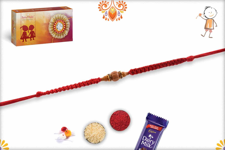 Uniquely Knotted Delicate Sandalwood Rakhi with Diamond - Babla Rakhi