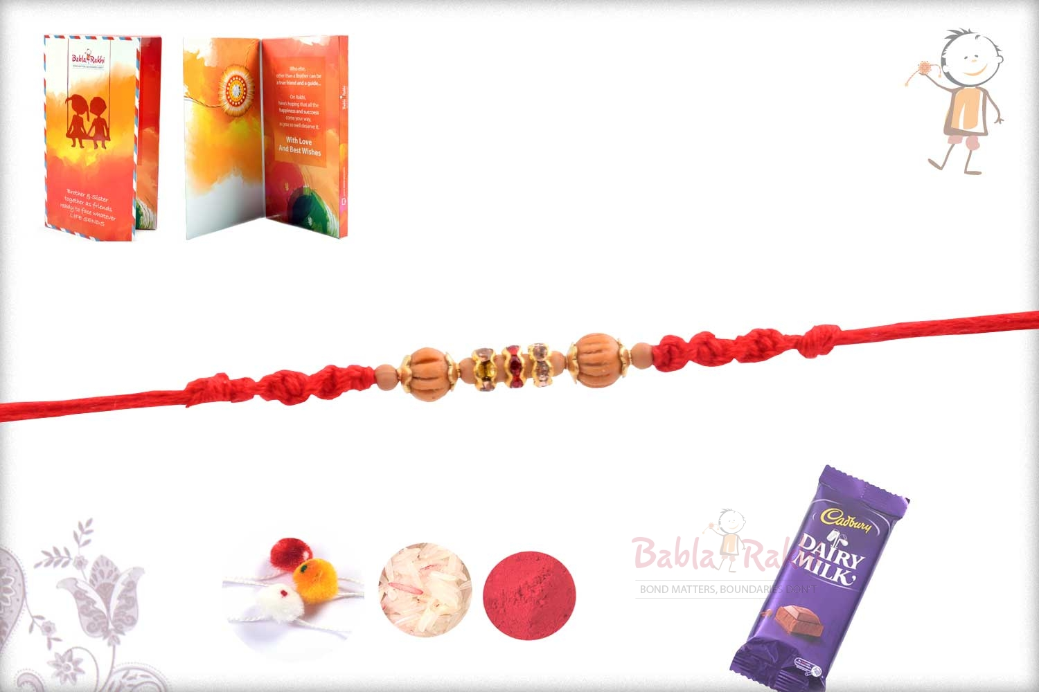 Traditional Sandalwood Beads with Red-White Diamonds 2
