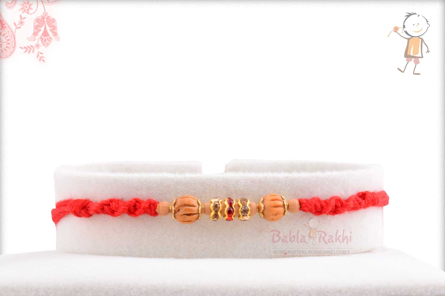 Traditional Sandalwood Beads with Red-White Diamonds 1