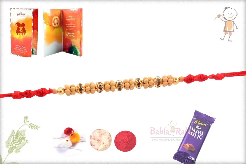 Simple Diamond Rings with Golden Beads Rakhi 2