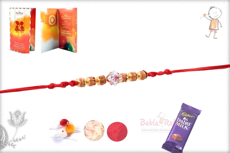 Square Diamond Rakhi with Handcrafted Sandalwood Beads 2