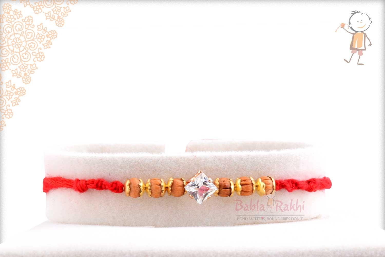Square Diamond Rakhi with Handcrafted Sandalwood Beads 1