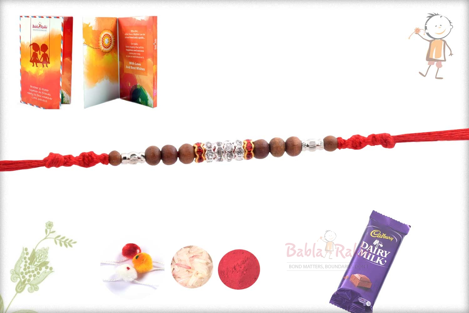 Traditional Sandalwood Beads with Silver Pipes 2