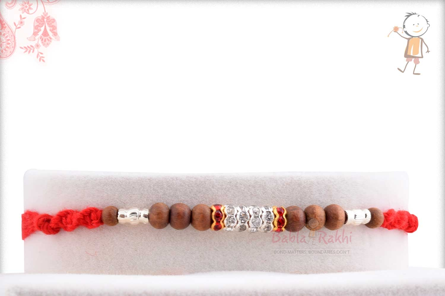Traditional Sandalwood Beads with Silver Pipes 1