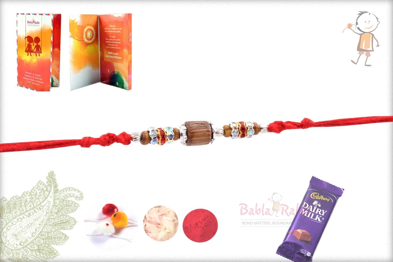 Handcrafted Sandalwood Bead Rakhi with Silver Beads 1