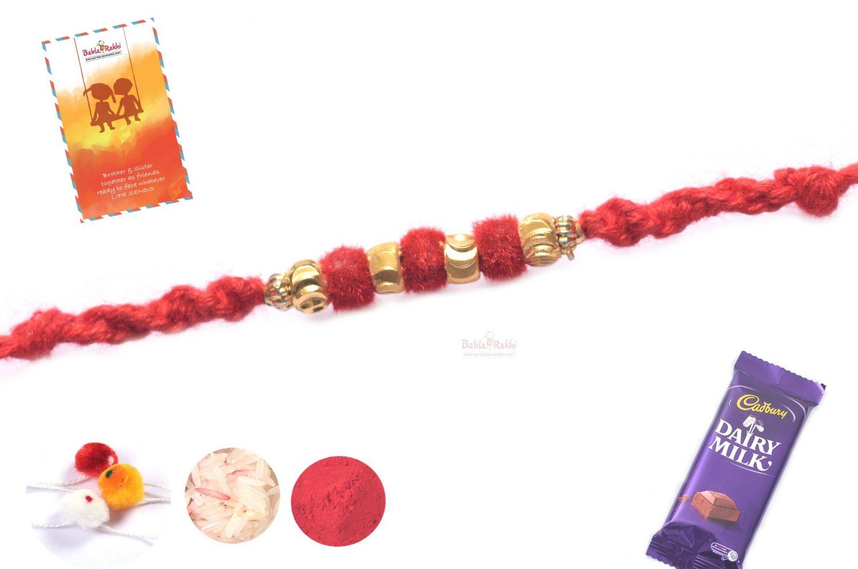 Beautiful Red Velvet Rakhi with Golden Beads 1