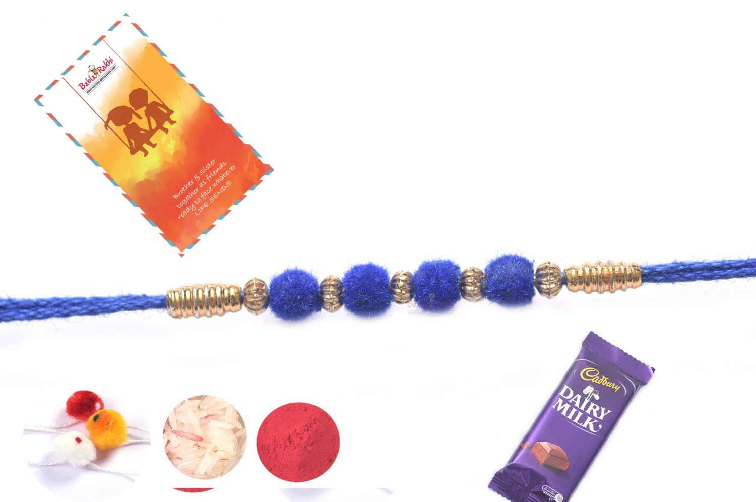 Royal Blue Velvet Rakhi 1