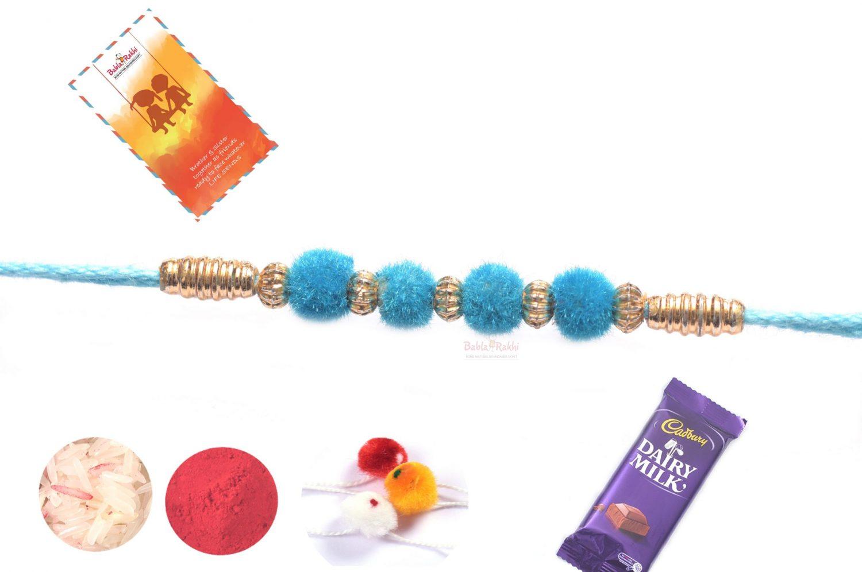 Simple Turquoise Velvet Rakhi 1