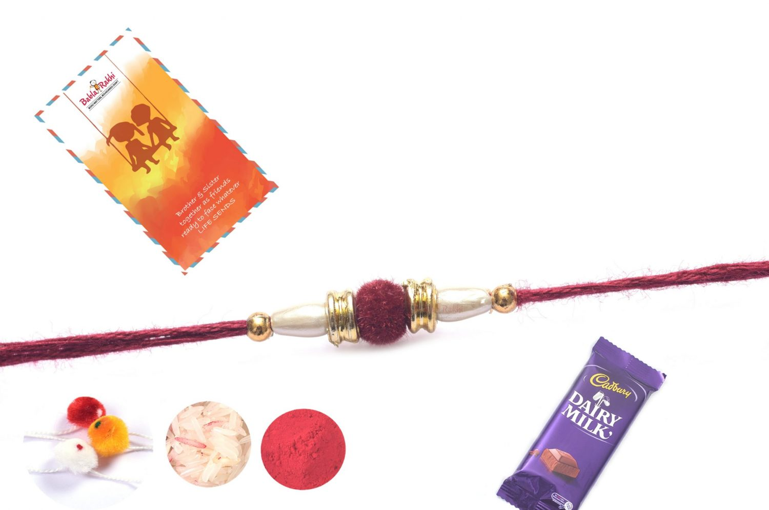 Beautiful Maroon Velvet Rakhi with Golden Beads 1