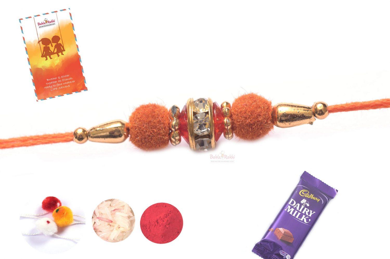 Orange Velvet Rakhi with Diamond Ring 1