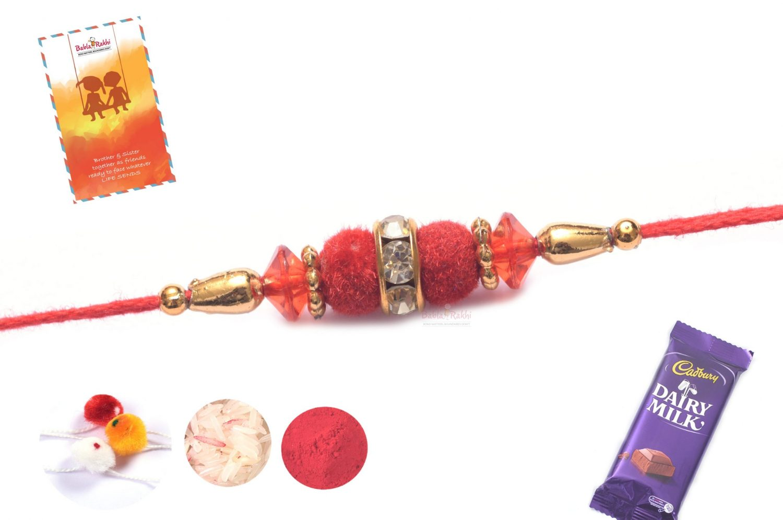 Red Velvet Rakhi with Diamond Ring 1