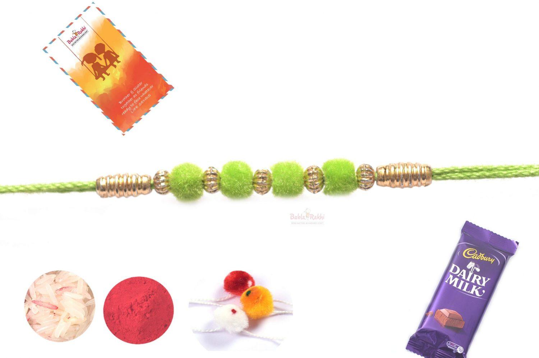 Beautiful Bright Green Velvet Rakhi 1