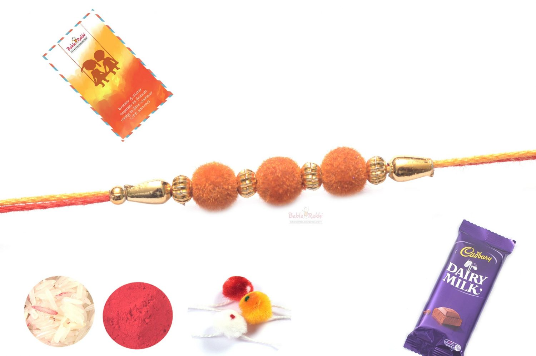 Orange Velvet Rakhi with Mauli Thread 1
