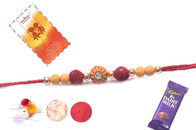 Delicate Diamond with Velvet Beads Rakhi 1