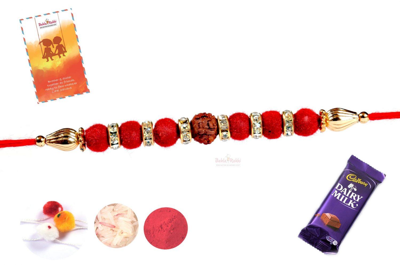 Red Velvet Beads with Rudraksh Diamond Rings Rakhi 1