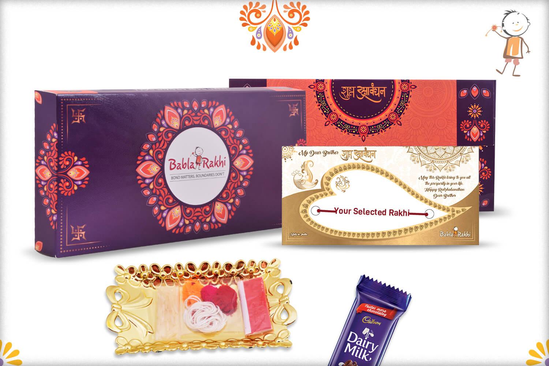 Designer Blue Bhaiya Bhabhi Rakhi with Pearls and Diamonds 2