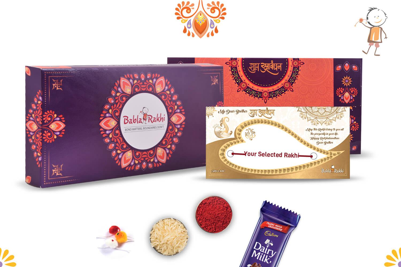 Red Velvet Beads with Rudraksh Diamond Rings Rakhi 2