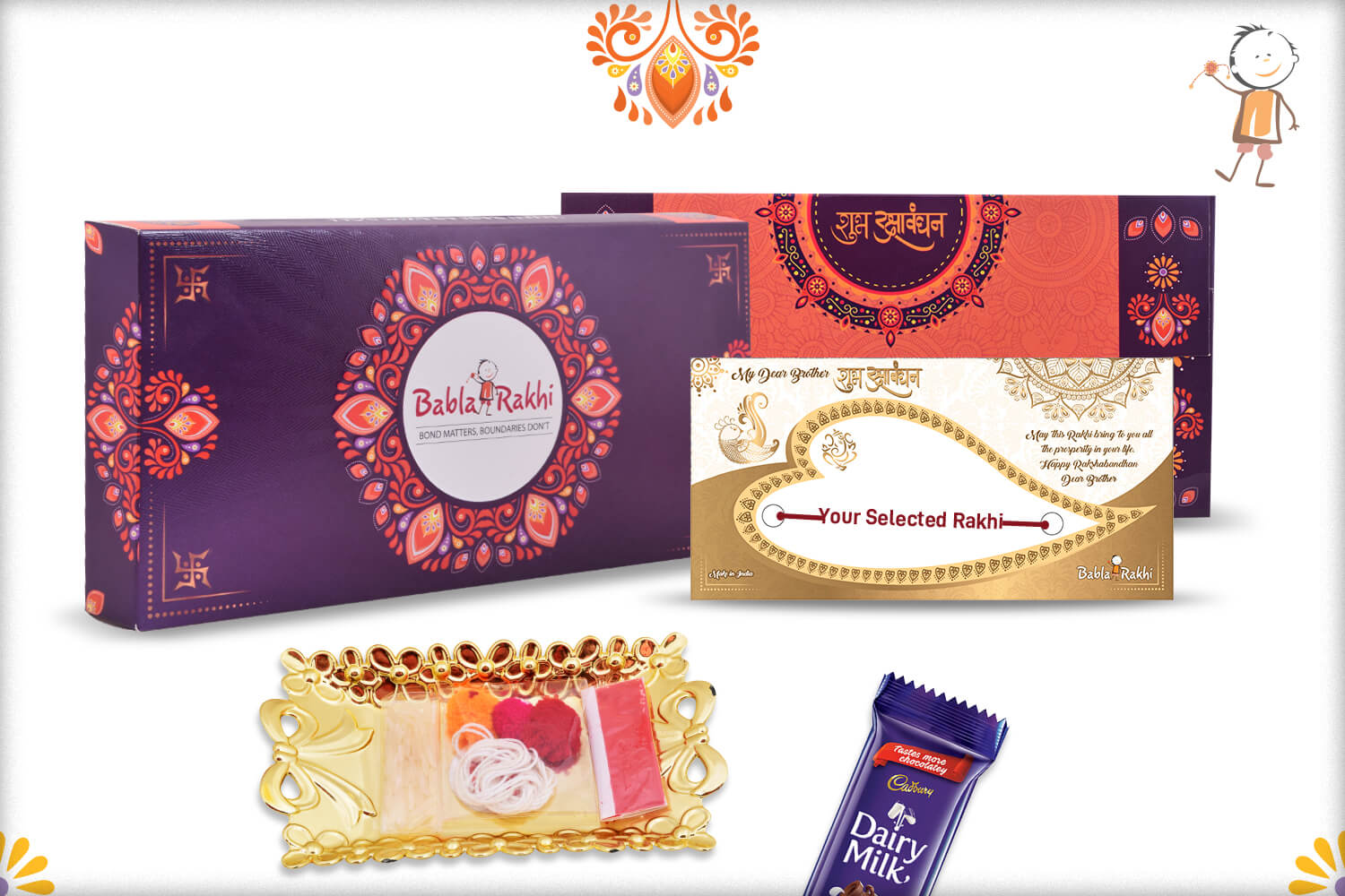 Aishwaryaq Gold And Royal Red Rakhi 4