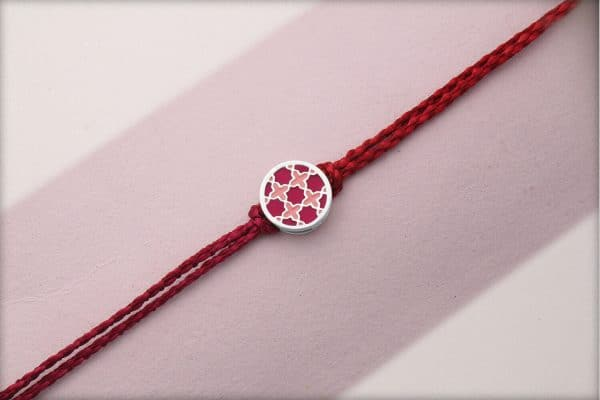 Miraas Round Multiwear Sterling Silver Rakhi - Red and Melon