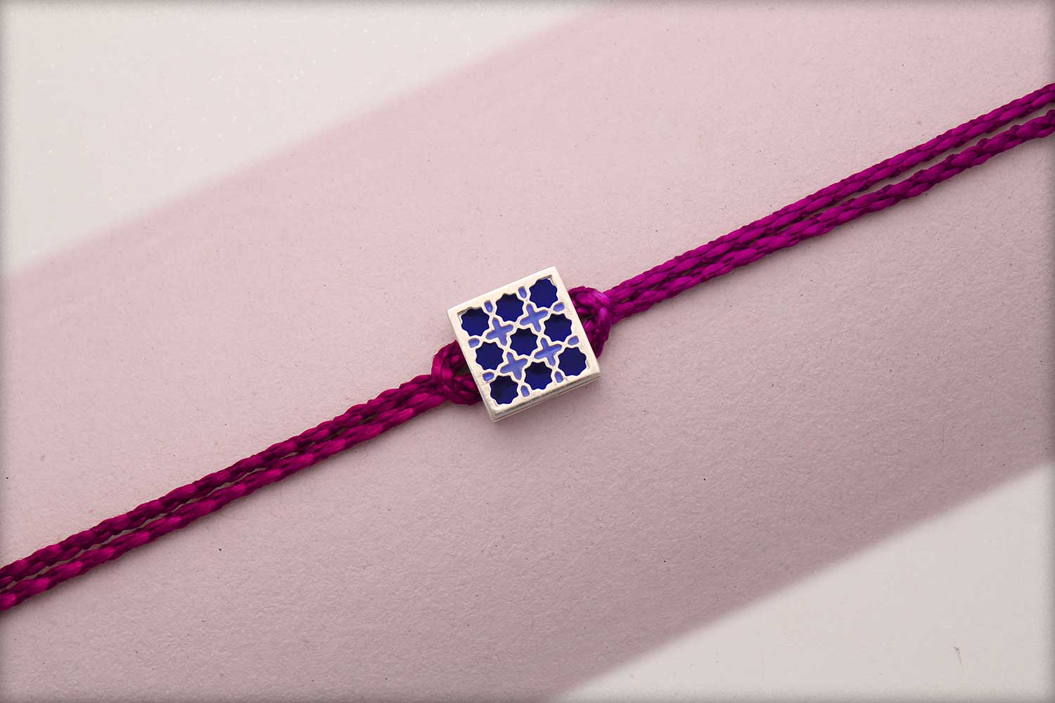 Miraas Square Multiwear Sterling Silver Rakhi - Blue and Lilac