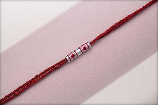 Miraas Barrel Multiwear Sterling Silver Rakhi - Red and Melon