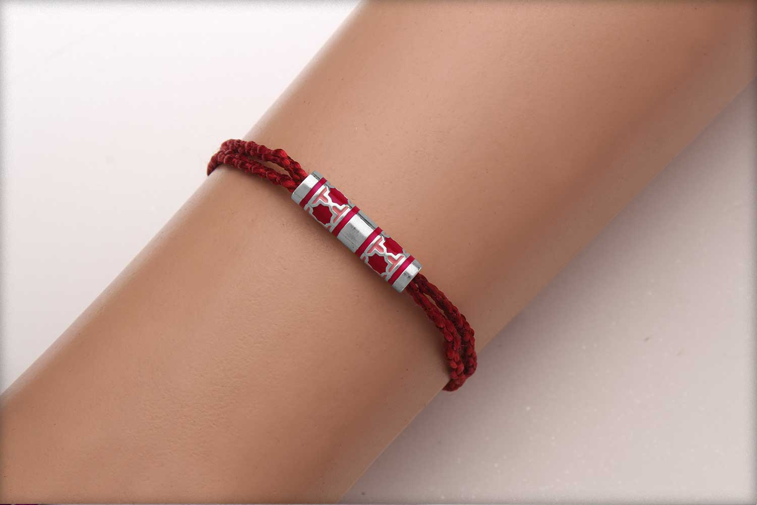 Miraas Barrel Multiwear Sterling Silver Rakhi - Red and Melon