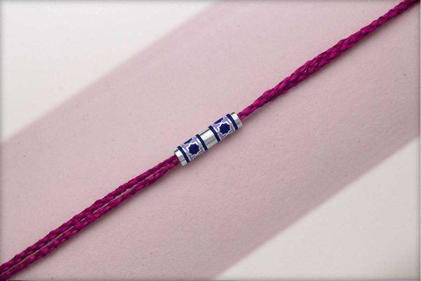 Miraas Barrel Multiwear Sterling Silver Rakhi - Blue and Lilac