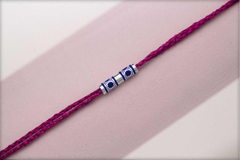 Miraas Barrel Multiwear Sterling Silver Rakhi - Blue and Lilac
