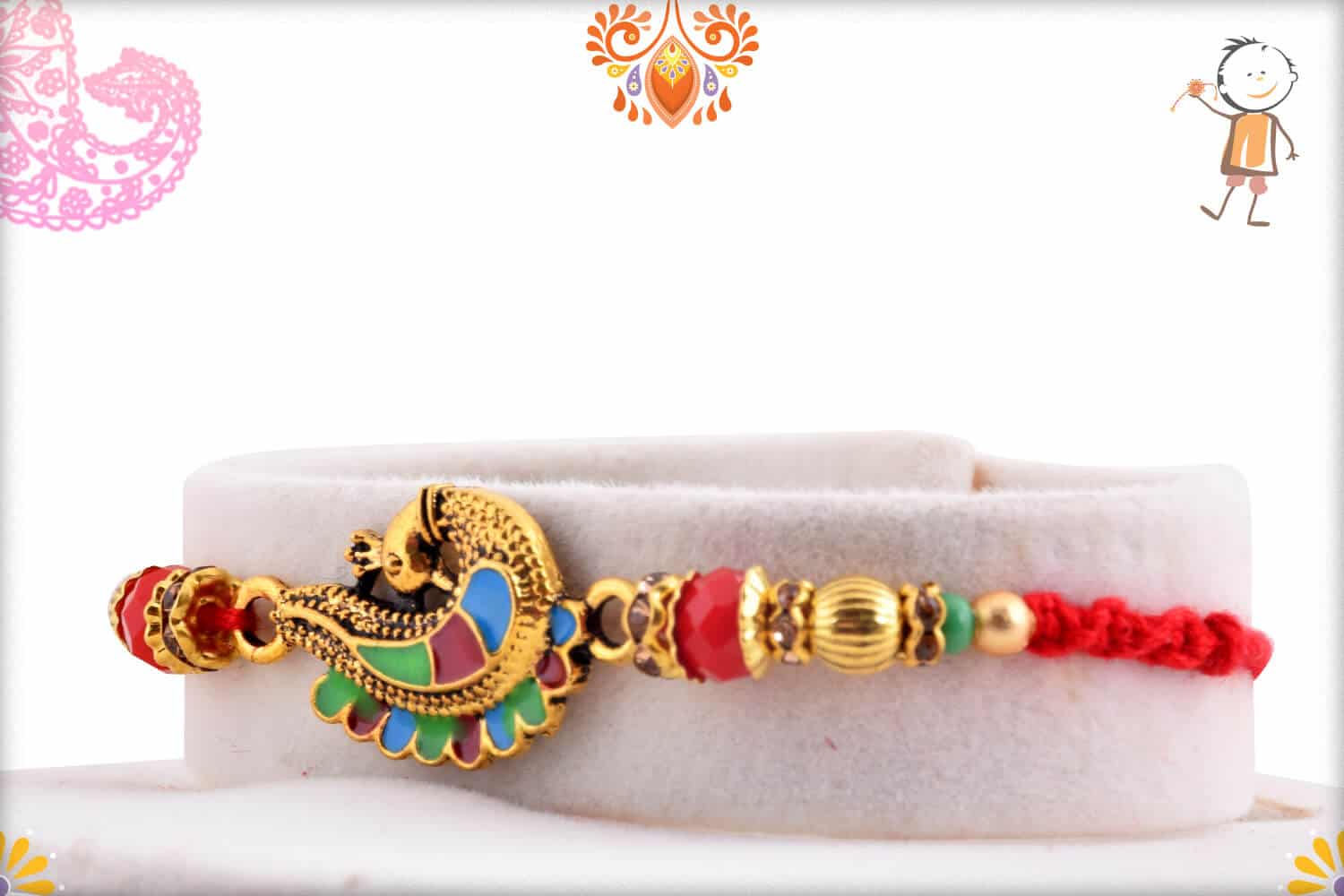Beautiful Meenakari Peacock Rakhi 2