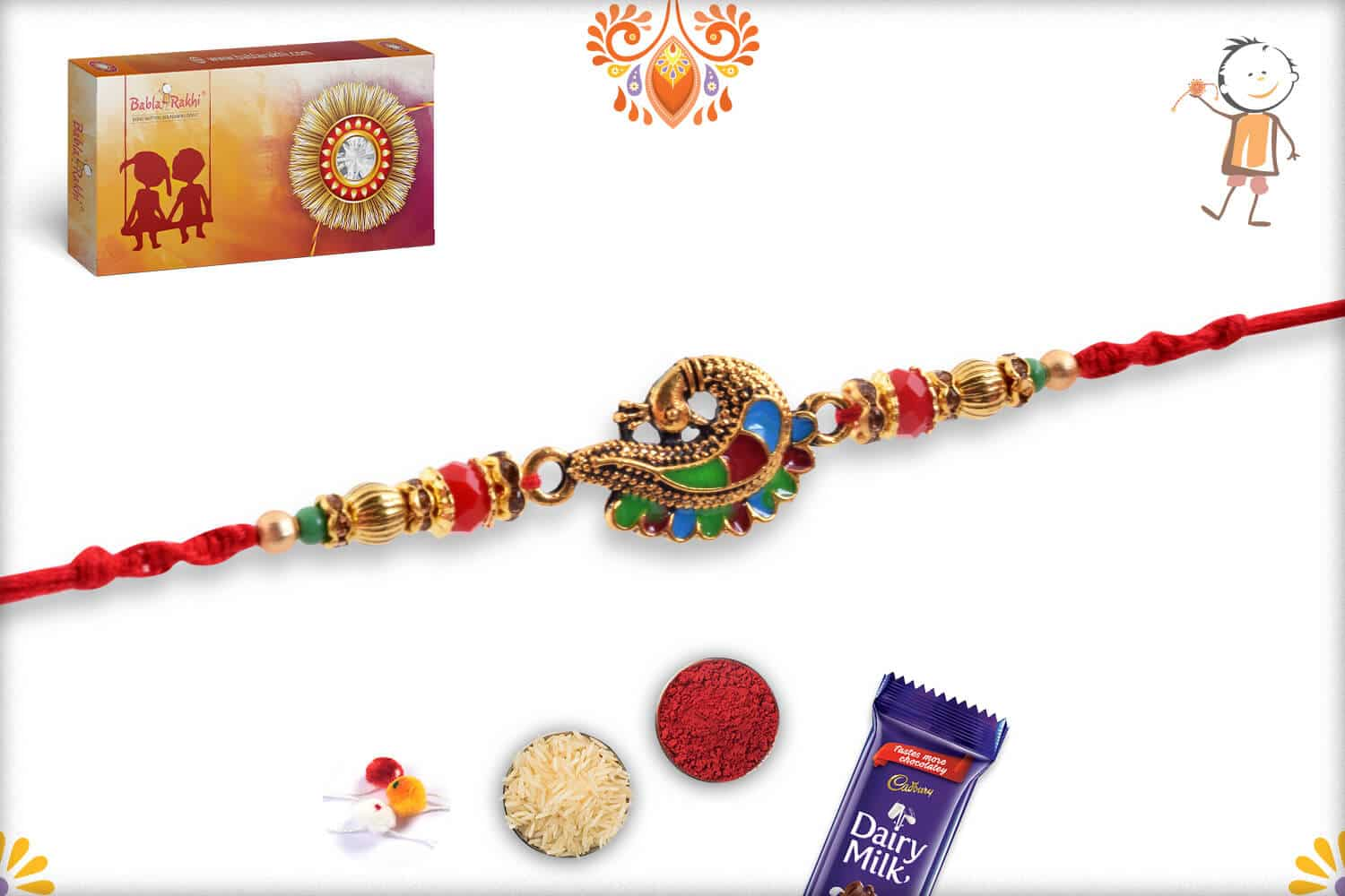 Beautiful Meenakari Peacock Rakhi 1